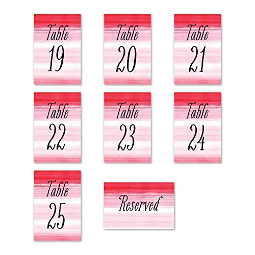 "Hot Pink Ombre Table Number Cards Pack of 25 All Occasion Modern Design Single Sided 4"" x 6"" Set Baby Shower Bachelorette Birthday Family Reunion Parties Reserved Seating Dining Event DB Party Studio"
