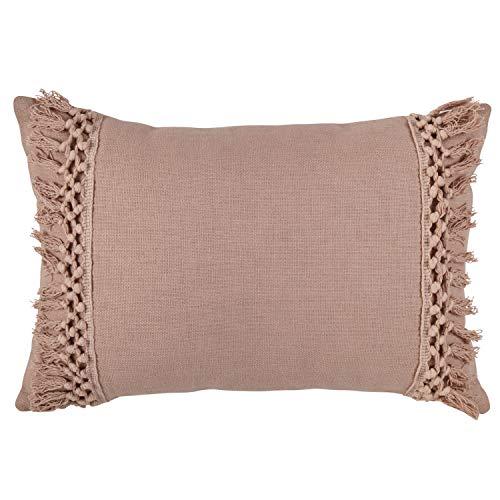 Rivet Modern Macrame Fringe Lumbar Throw Pillow - 18 x 12 Inch, - Throw Pillow Blush