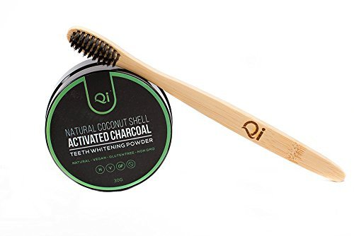 Qi Teeth Whitening Powder & Bamboo Toothbrush Kit, Mint-Flavored Coconut Shell Activated Charcoal, Vegan & Fluoride-Free for Quickly Removing Tooth Stains. Whitens Sensitive Teeth, Gluten-Free
