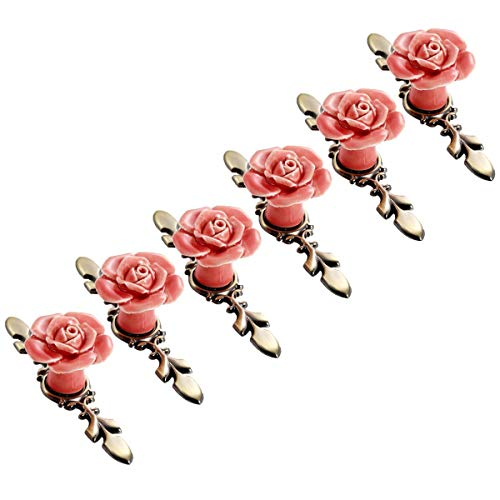 - SCTD Rose Ceramic Flower Cabinet Knobs with Bronze Backplate, Vintage Kitchen Drawer Pull Handles for Dresser Cupboard Waredobe with 3 Size Screws, 6 Pack (Pink New)