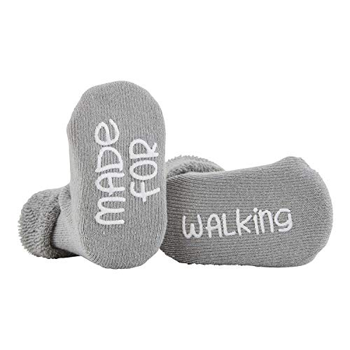 Stephan Baby Non-Skid Silly Socks with Cute Sayings, Gray Made for Walking, Fits 3-12 Months