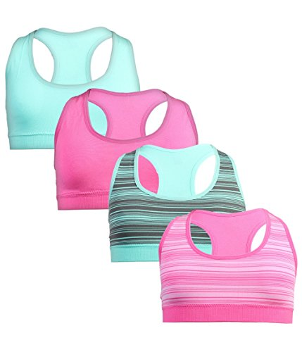 dELiA*s 'dELiAs dELiAs Girls' Seamless Sports Performance Bra With Removable Pads, 4 Pack, Mint/Pink, Medium/10-12' by dELiA*s