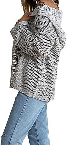 WOMEN'S LONG SLEEVE BUTTON OPEN FRONT HOODED CARDIGAN JACKET LIGHTWEIGHT HOLLOW OUT KNIT SWEATERS COAT