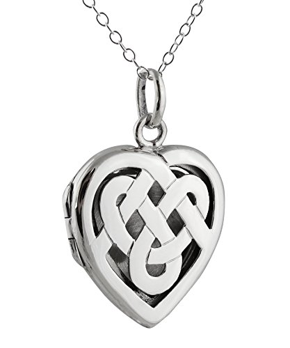 Sterling Silver Celtic Knot Heart Photo Locket Necklace, 18 Inch Chain