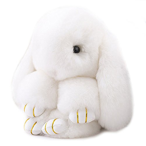 - Efanr Cute Fluffy Bunny Doll Keychain Soft Rabbit Key Ring Pendant Toy for Women's Bag Charms or Car Cell Phone  (White)