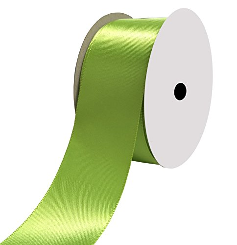 Duoqu 1-1/2 inch Wide Double Face Satin Ribbon 25 Yards Apple Green