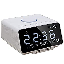 WMTGUBU Alarm Clock FM Radio LED Display with Dual Alarm Clock,Wireless Bluetooth Player,TF-Card,USB Port,3.5mm AUX Jack,Nap/Sleep Timer,Indoor Temperature/Day/Date Display with Dimming(White)