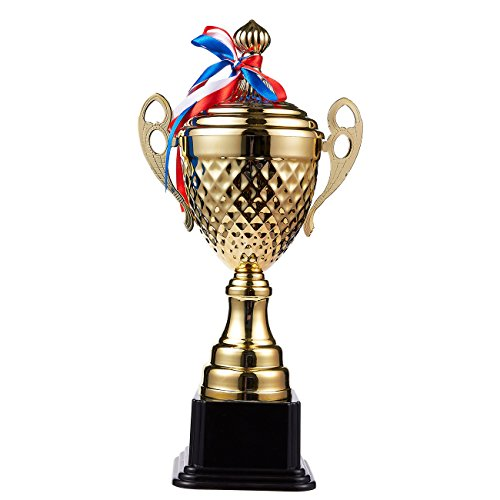 (Juvale Large Trophy Cup - Gold Trophy for Sport Tournaments, Competitions, Gold, 15.2 x 7.5 x 3.7 Inches, 15.2 Inches in Height)