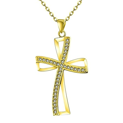 Swarovski Crystals Cross Pendent Necklace - CS-DB 18K Gold Real 18K Yellow Gold Filled Swarovski Crystal Cross Chain Pendant Necklace Womens Men