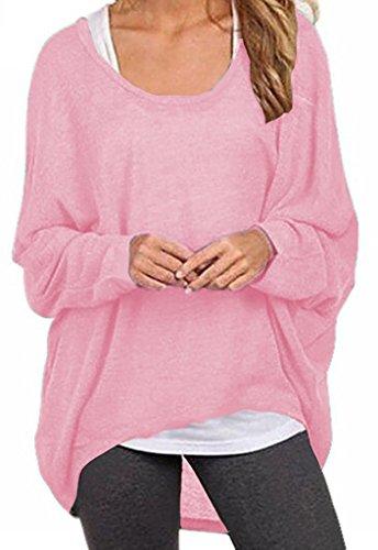Maglioni Casual Taglie Autunno Donna Particolari Inverno Rosa T Manica Magliette Top Forti Bluse Maglione Sweater Maglia Maglieria Lunga Colore Puro Eleganti Sciolto Shirt Hollow 80tw6Ux