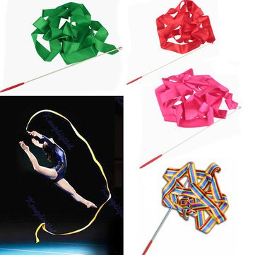 4M Gymnastic Art Streamer Ballet Dance Ribbon With Twirling Rod^. (Flower Dance Streamer compare prices)