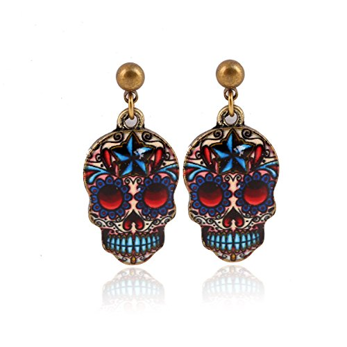 Mr Ribbt Womens Flower Painted Sugar Skull, Day Of The Dead Mask Earrings, Handmade Art