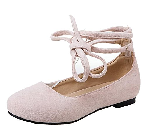 Easemax Women's Faux Suede Round Toe Low Top Self Tie Flats Shoes Beige 10 B(M) US]()