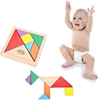 Wooden Tangram 7 Piece Puzzle Square I.Q. Development Game Brain Teaser Intelligent Blocks Educational Toy Good Gift for Kids
