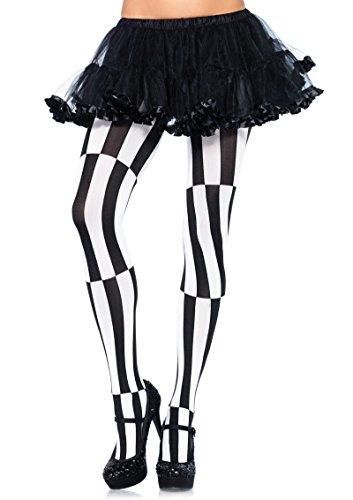 7904 Striped Optical Illusion Pantyhose Black White