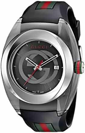 Gucci SYNC XXL Stainless Steel Watch with Black Rubber Bracelet(Model:YA137101)