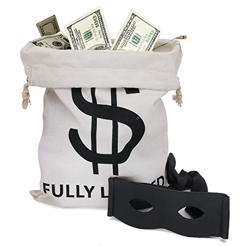 Villain Bank Robber Costume Mask and $$ Fully Loaded Money Bags. Large Drawstring Sacks with $ Dollar Sign for Cowboys, Bandits, Costumes, Party Decorations Halloween & Christmas Santa Sacks (4-Pack)]()