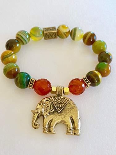 Yellow Green Banded Agate Bracelet, Elephant Bracelet, Gemstone Bracelet, Lucky Elephant Bracelet, Healing Gemstone, Stretch Bracelet.
