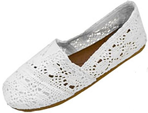 Shoes8teen Shoes 18 Womens Canvas Crochet Slip On Shoes Appartamenti Bianco 3008