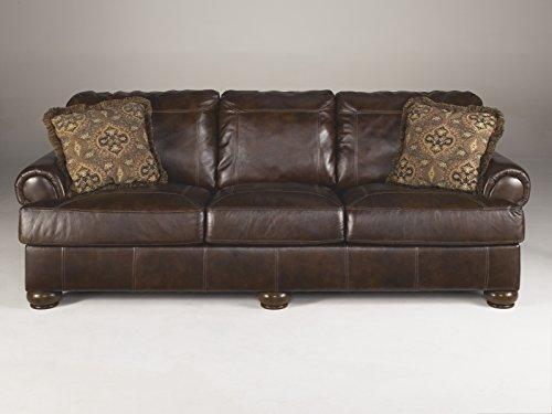 Axiom Walnut Color Vintage Casual Rich Leather Sofa