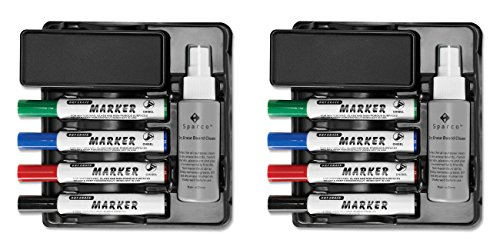 (Sparco Marker/Eraser Caddy with Mounting Tape, 8 x 7 x 2-13/16 Inches, Black (SPR75628), 2 Packs)