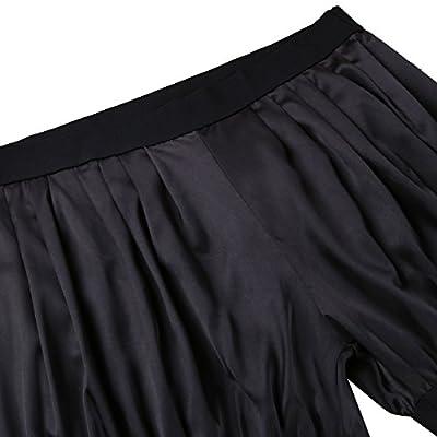 ACSUSS Men's Silk Satin Solid Cuff Leg Boxer Shorts Lounge Underwear Lingerie at  Men's Clothing store