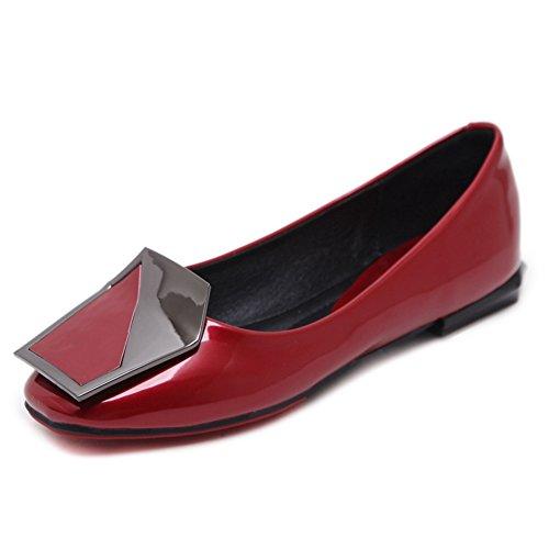 Confortable Jrenok Métal Vin Decoratiom Enfiler En À Au Femme Brillante Printemps Rouge Élégante Derby Ballerine Chaussure PraqP