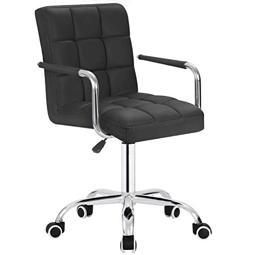 Furmax Mid-Back Office Task Chair,Ribbed PU Leather Executive Chair,Modern Adjustable Home Desk Chair, Comfortable Retro Work Chair,360 Swivel with Arms (Black)