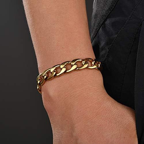BIGU Bracelet Homme Cha/îne Cubaine Gourmette Maille Figaro 22cm Acier Inoxydable Plaqu/é Or Jaune Bijoux Tendance pour Gar/çon Femme Rapper Style