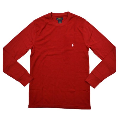 Polo Ralph Lauren Men's Folded Waffle Mixed Media Long Sleeve Crew Red Large (Knit Polo Waffle)