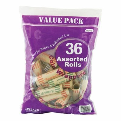 6 Pk, BAZIC Assorted Size Coin Wrappers, 36/Pack – Total of 216