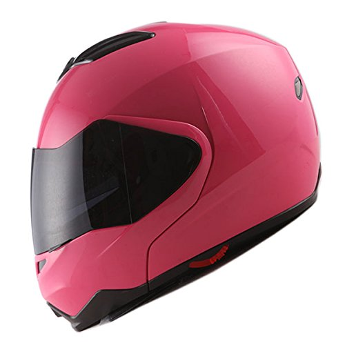 1Storm Motorcycle Street Bike Modular/Flip up Dual Visor/Sun Shield Full Face Helmet Glossy Pink -