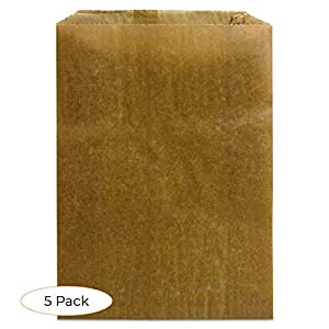 "Hospeco KL Waxed Kraft Feminine Hygiene Liner Bag with Gusset,10.25"" x 7.5"" x 3.5"",(Case of 500)"