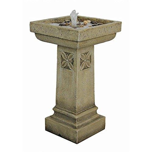 Water Fountain Bird Bath - White Chapel Manor Pedestal Garden Decor Fountain - Outdoor Water Feature
