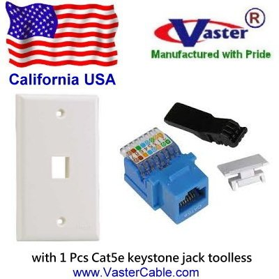 Vaster SKU : 00156-WH-BL-00 - Cat5e Tool Less Keystone Jack BLUE Color, with 1 port RJ 45 Keystone Wall Plate WHITE Color