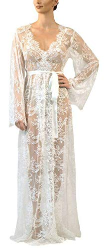 Womens Long Embroidered Lace Kimono Cardigan with Half Sleeves (One Size, 07-White)