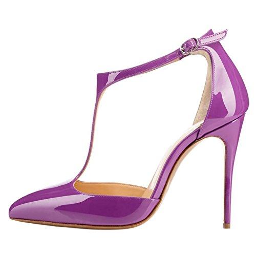 Tallone T Cavigliera cinghia Viola vernice Artificiale Donne Vestito Vocosi Delle Appuntito BCxSg7Sdn