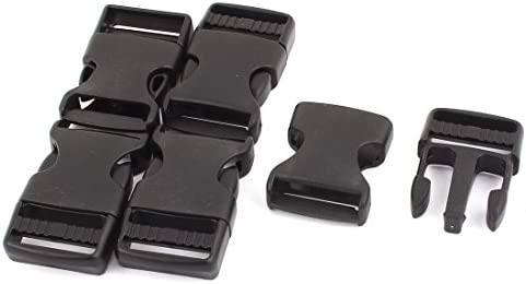 eDealMax 2.5cm Anchura de la Correa de Banda lateral packbag rápida apertura de la Hebilla 5pcs Negro