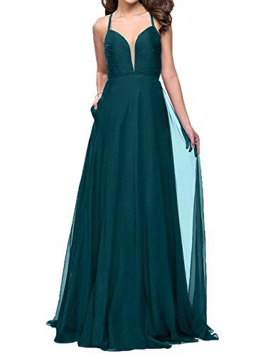 Ballkleider Chiffon Charmant Blau Einfach Gruen Gruen Lang Damen Abendkleider Festlichkleider Brautjungfernkleider Jaeger YYF1Zxw