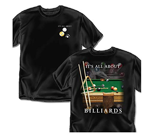 Coed Sportswear Billiards T-Shirt: All About Billiards, Black - Adult X-Large