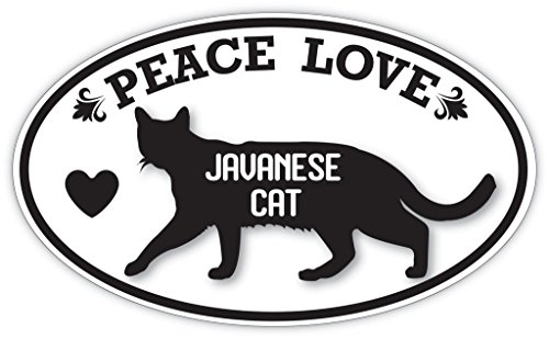 Lovable Petz - PEACE LOVE JAVANESE CAT Cats Pets Sticker - Car Laptop Wall Sticker Decal - 3