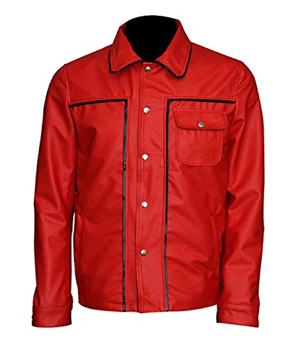 Mens Presley Red Elvis Button Flap Pocket Leather Jacke (XL)
