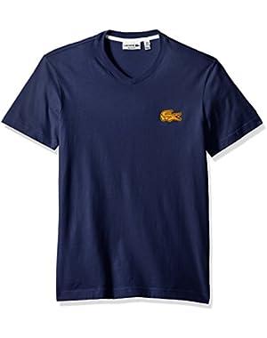 Men's V-Neck T-Shirt with Contrast Applique Croc