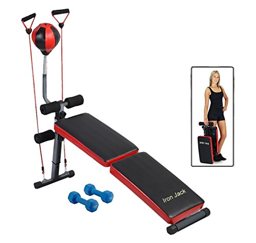 Adjustable Folding Decline Curved Incline Bench with Speed Ball 2 Dumbbells 2 straps by Iron Jack Fitness