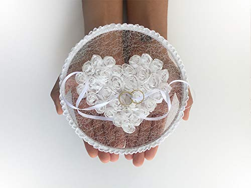 Wedding Ring Hoop, Lace Ring Holder, Ring Bearer Pillow, Ring Bearer Hoop, Lace Ring Holder, Lace Heart, Lace Pillow, Boho Wedding