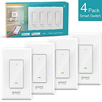 Smart WiFi Light Switch, Gosund 15A In-wall Smart Switch that Compatible with Alexa, Google Home and IFTTT, Single-Pole, No Hub required [Timer, Scene, Group Control], ETL and FCC listed. (4 pack)