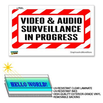 Lettering Decals Stickers (Video & Audio Surveillance in Progress - 12 in x 6 in - Laminated Business Store Sign Alert Warning Sticker)