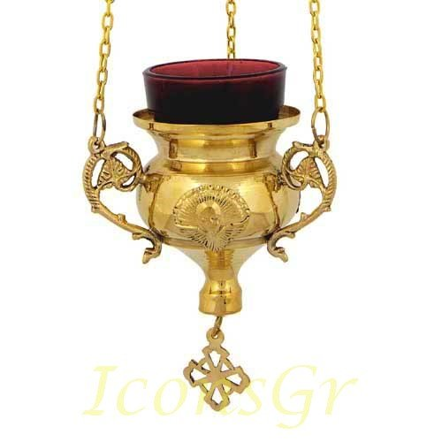 Gold Plated Orthodox Greek Christian Bronze Hanging Votive Vigil Oil Lamp with Chain and Red Glass - 237g by Iconsgr