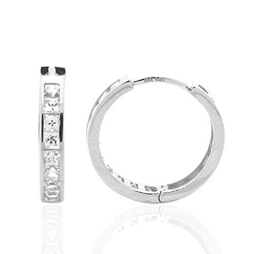 (14K White Gold Princess Cut Cubic Zirconia Channel Set Huggie Hoop Earrings)