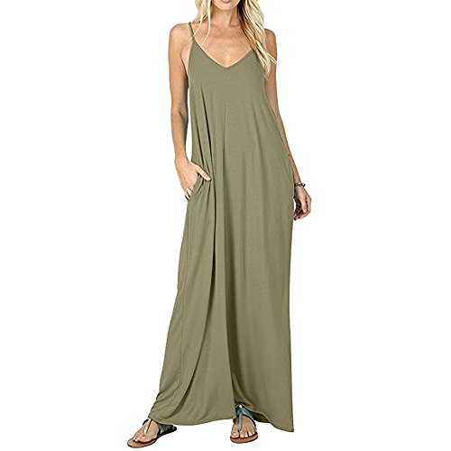 CLANDY Sundresses for Women, Womens V Neck Loose Casual Flowy Tank Cami Long Maxi Dresses with Pockets Beachdress ArmyGreen Size L